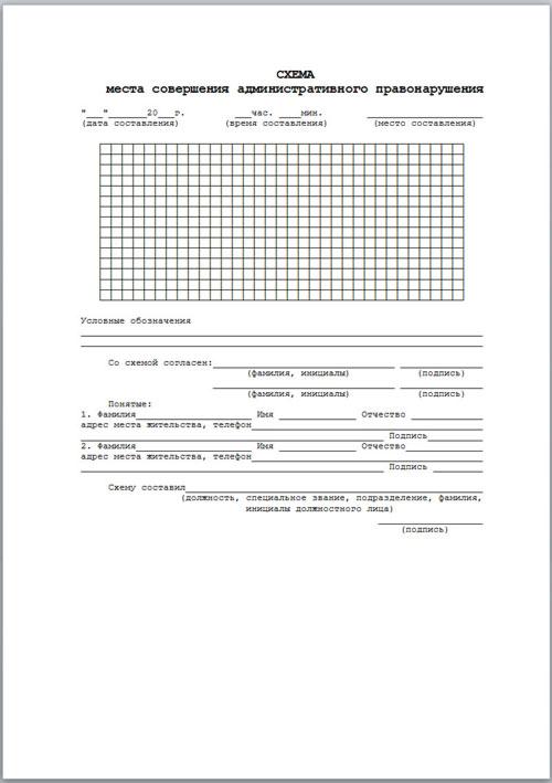 Схема совершения места административного правонарушения.